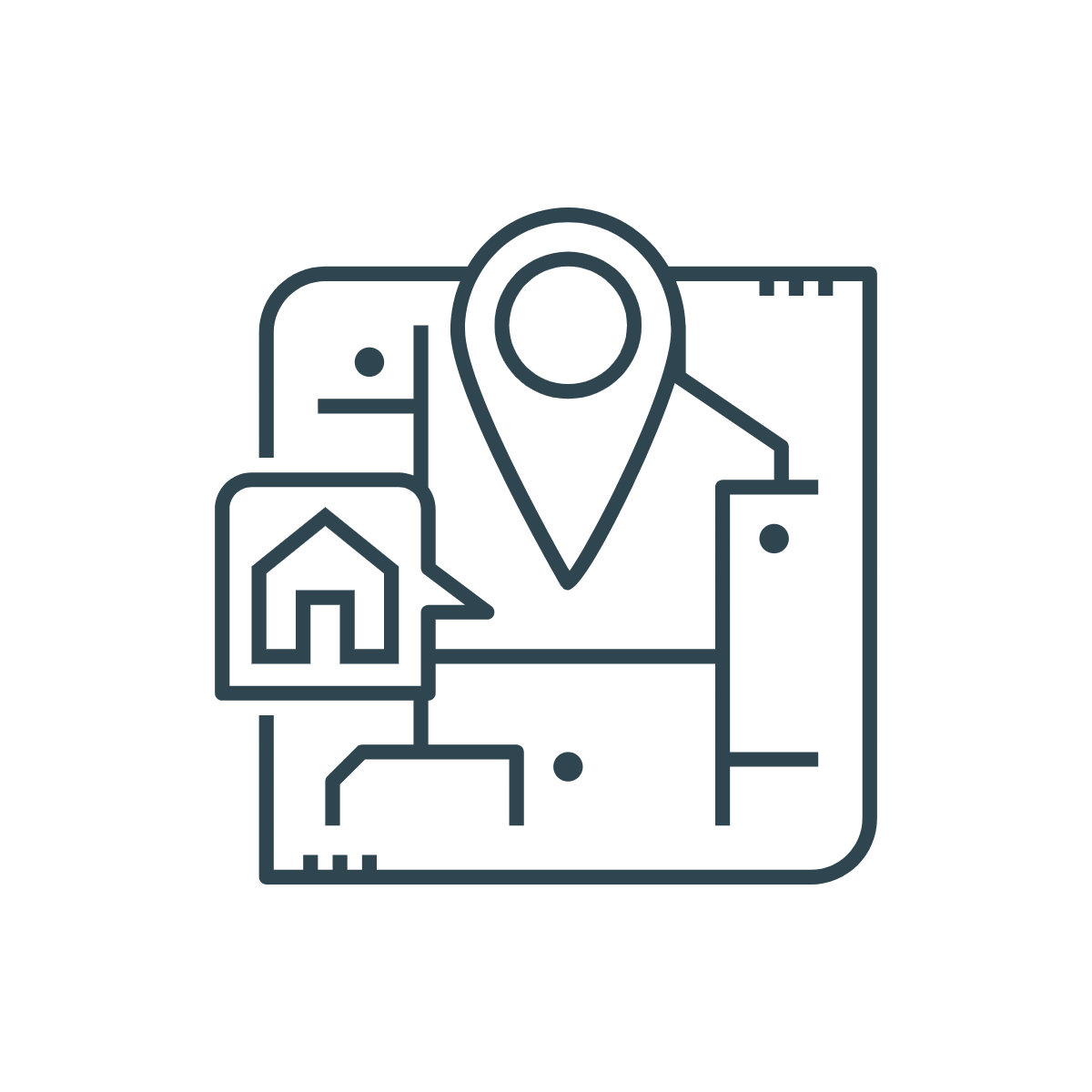 icon of selecting a location for a home