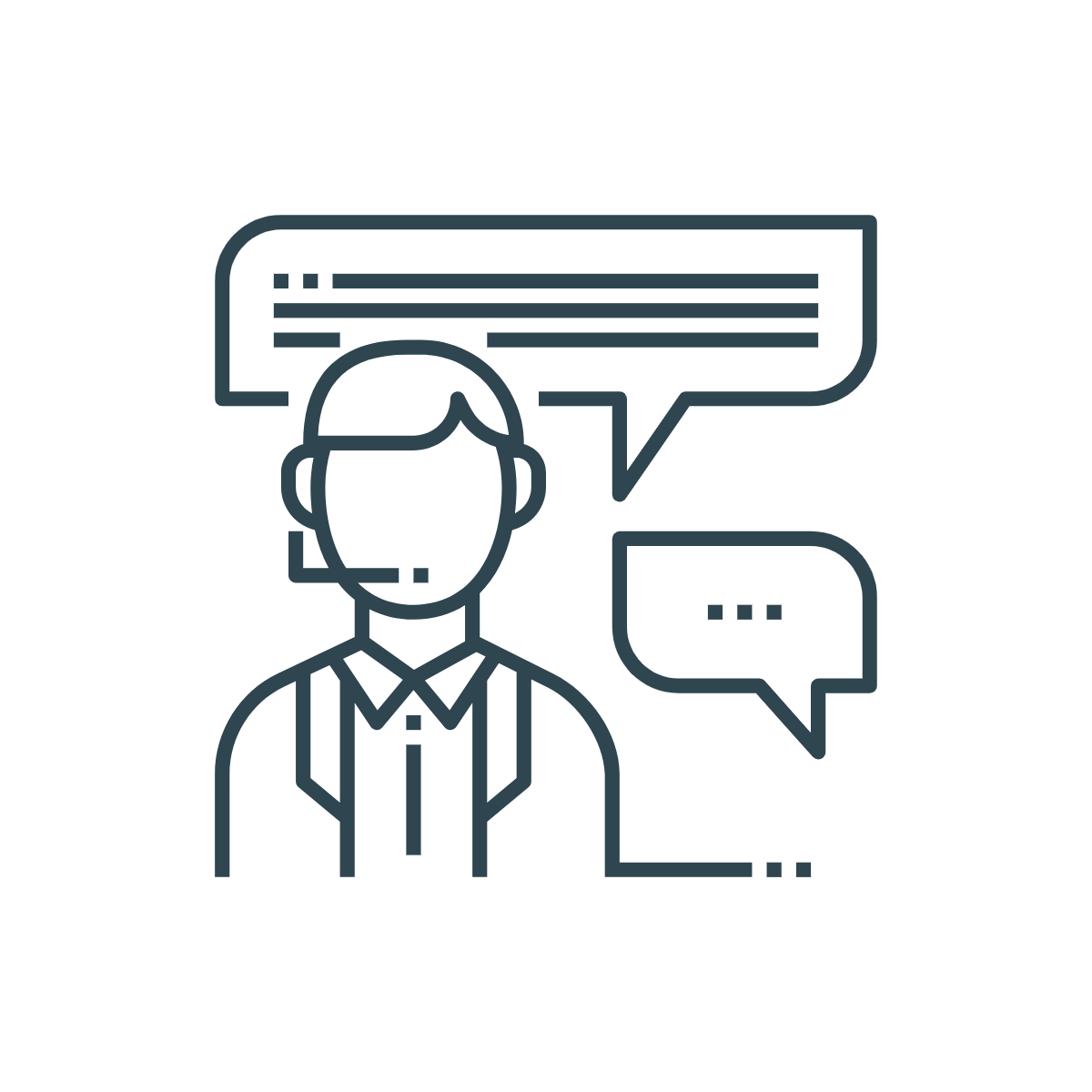 icon of support agent communicating